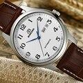 Мужские автоматические механические часы с простым номером  Роскошные наручные часы от известного топ бренда  повседневные кожаные Наручн...