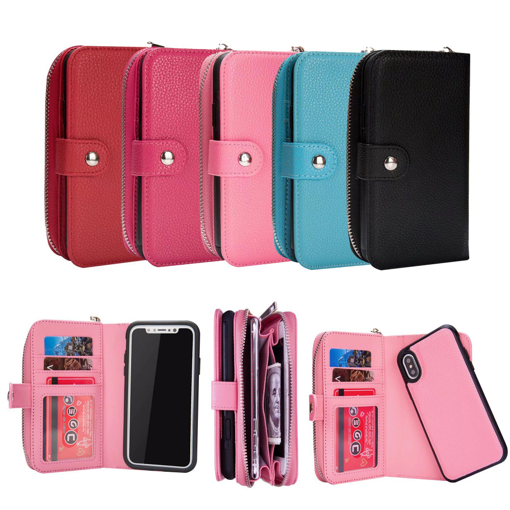 Роскошные Личи шаблон съемный кожаный чехол для iPhone X телефон сумка на молнии задняя крышка Сумочка Кошелек Чехол