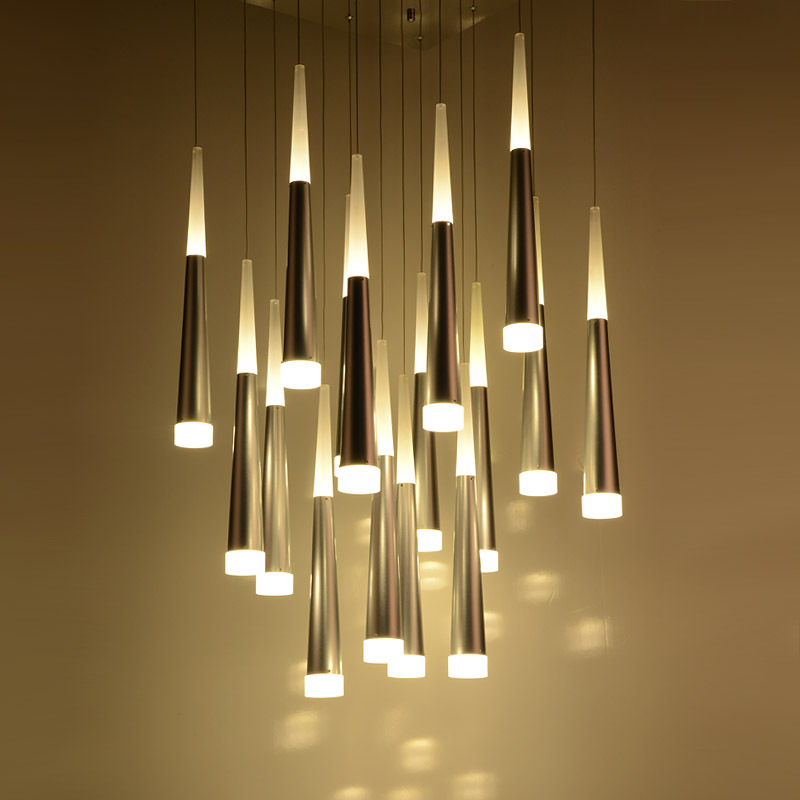 Creative LED Taper Pipe Dining Room Pendant Lights Bar Counter spiral Stair Aluminum Acrylic Tube Pendant Lamp