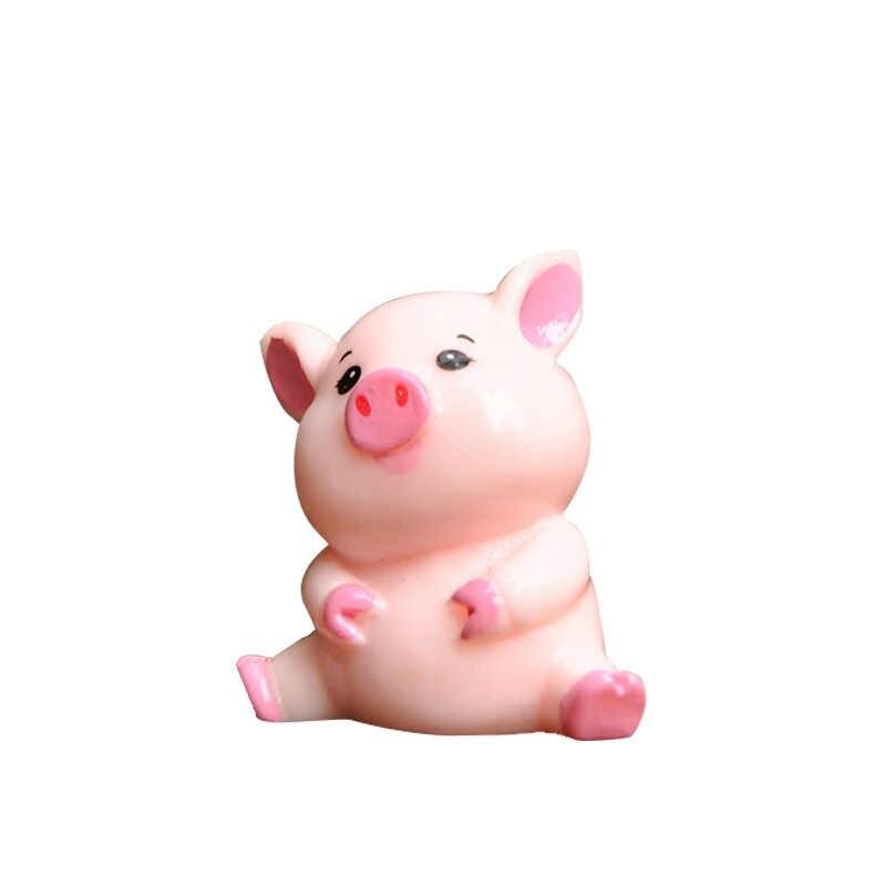 BAIUFOR Miniatura Animal Pink Pig Família Figurinhas DIY Fada Do Jardim Decoração Paisagem Musgo Terrário Decoração Material do Anel Chave