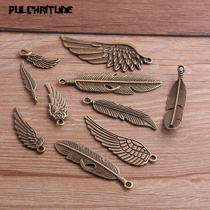 PULCHRITUDE Vintage Bronze Metal Small Wings & Feather Charms For Jewelry Making Diy Zinc Alloy Mix Wings Feather Pendant