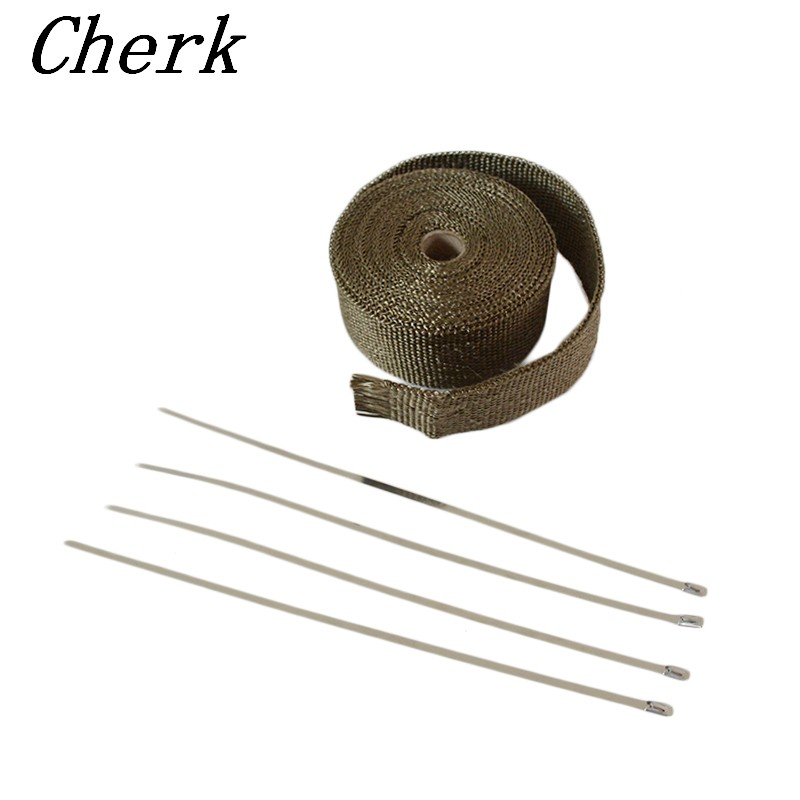 15M Titanium CAR MOTORCYCLE Incombustible Turbo MANIFOLD HEAT EXHAUST WRAP TAPE THERMAL STAINLESS TIES With 4 Stainless Ties Kit