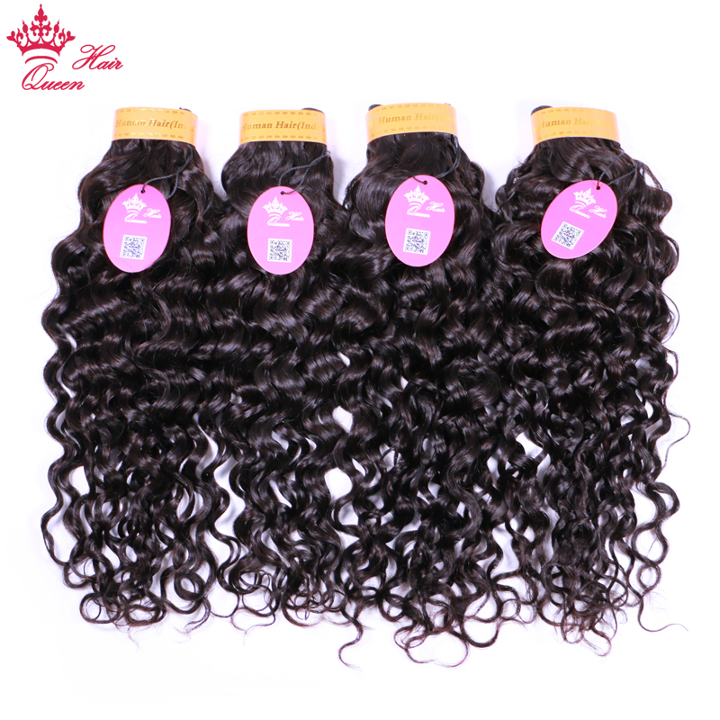 Queen Hair Products Indian Water Wave Hair Bundles 100% Human Hair Weaving 4 Bundle Deals Remy Hair Extensions Natural Color 1B