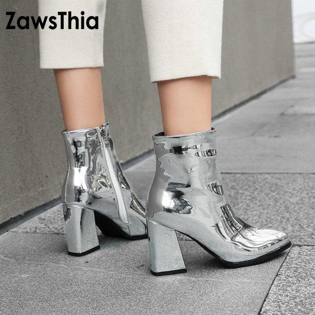 ZawsThia 2019 designer brand luxury women patent PU leather silver gold  thick high heels fashion woman e6aca9ab01e1