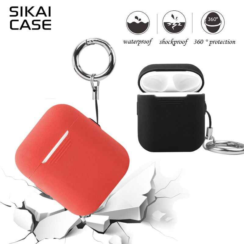 best sneakers c076e ca443 SIKAI For Apple Airpods Case With Free Lanyard Silicone Case For AirPods  Charging Case Protective Earphone Case For Air pods Box