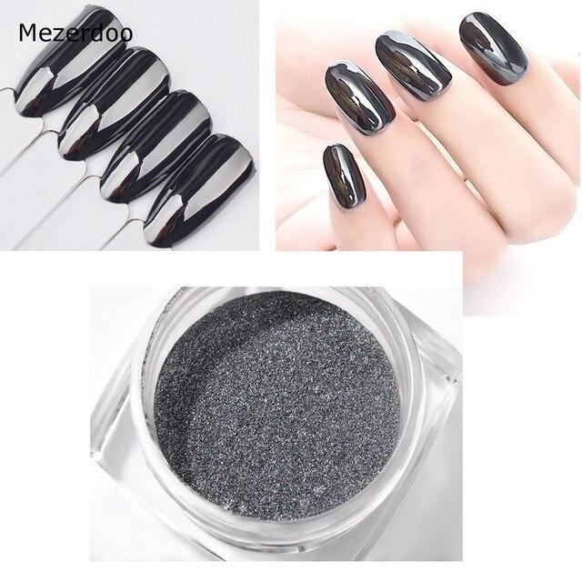 Black Mirror Powder Nail Art Black Pearl Shining Manicure Glitter