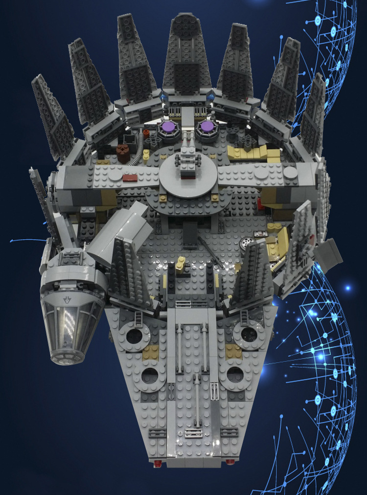 Mylb حرب النجوم الألفية فالكون الخارجي الفضاء سفينة الفضاء اللبنات نموذج لعب عيد الميلاد هدية للأطفال متوافق-في حواجز من الألعاب والهوايات على  مجموعة 2