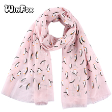 Winfox Pink Black Grey Animal Print Penguin Scarf Women Female Lightweight Soft Neck Elegant Shawl Scarves