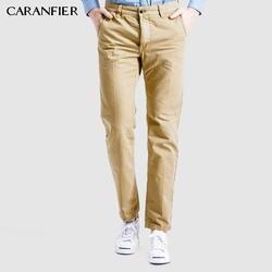 CARANFIER осень 2017 г. и зима Для мужчин повседневные брюки из хлопка прямые брюки мужского Multi-цвет кнопки модные тонкие повседневные штаны