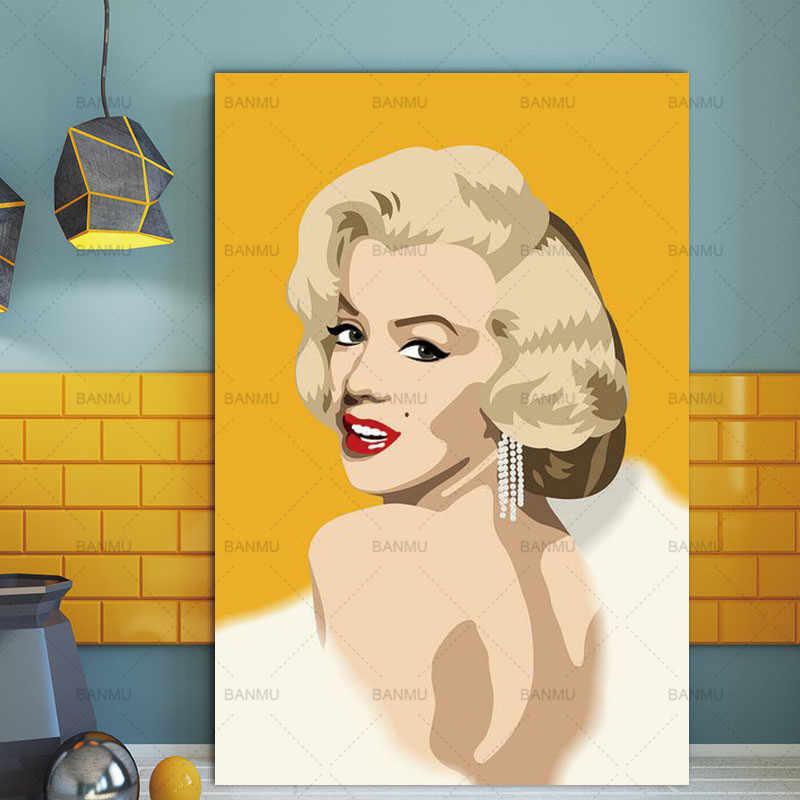 حائط لوح رسم صور فنية يطبع مارلين مونرو على قماش لا الإطار ديكور المنزل الجدار ملصق الديكور لغرفة المعيشة