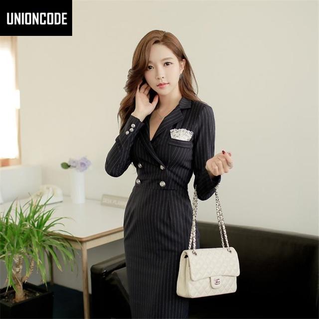 Autumn Office Dress Long Sleeve Knee-Length Notched Collar Buttons Stretch Striped Pencil Work Dress Women Black Dresses