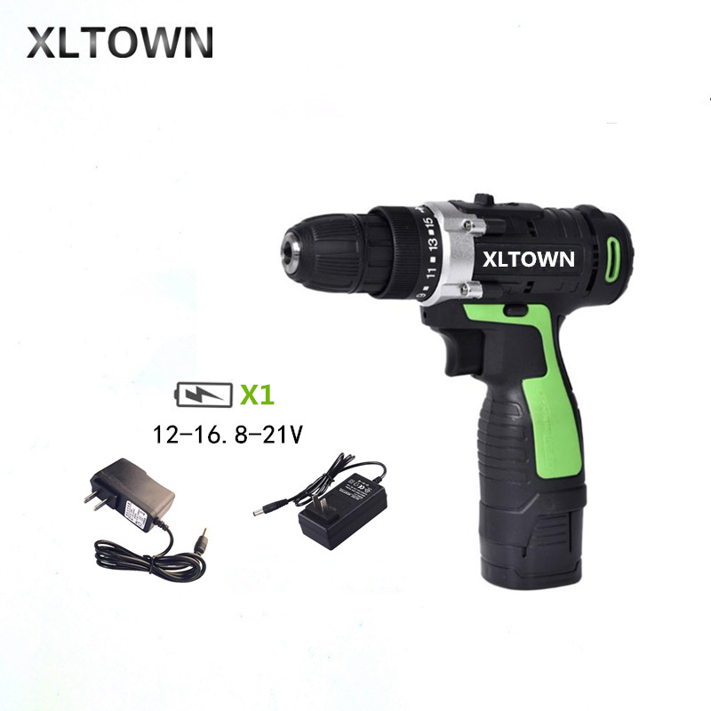 XLTOWN12/16.8/21v Cordless Drill Rechargeable Lithium Battery Multifunction Electric Screwdriver Household power tools Drill bit xltown 21v electric screwdriver multifunction rechargeable lithium drill electric household cordless electric drill power tools