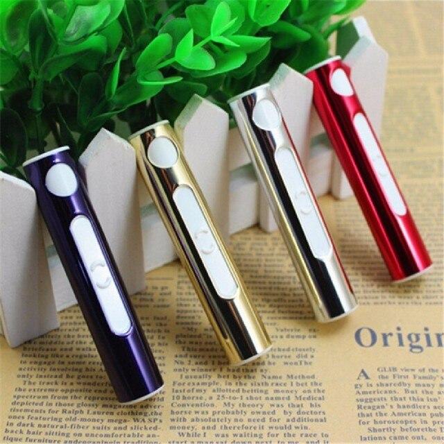 Fashion USB Aansteker Elektronische Oplaadbare Tabak Sigarettenaansteker Vlamloze Sigaar winddicht goud metalen pijp aansteker