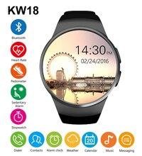 Kw18 bluetooh smart watch schrittzähler pulsmesser unterstützung sim tf karte smartwatch für android smart watch