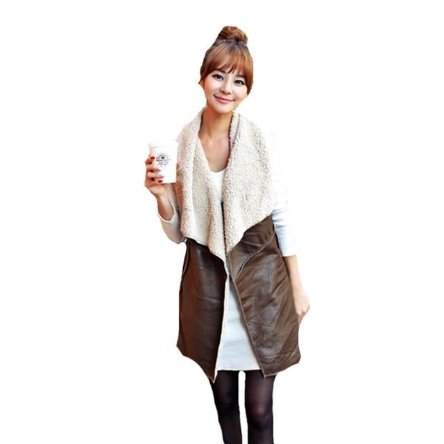 New Autumn 2017 Fashion Women Leisure Warm Faux Fur Collar Long Leather Waistcoat Coat Outerwear Casual Jacket Vest Hot