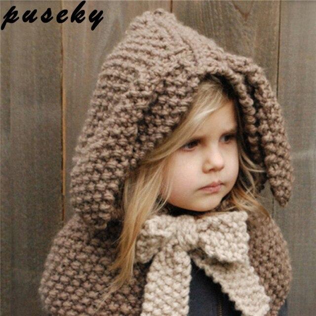 Puseky Nouvelle Automne Et D hiver Belle Bébé Châle Chapeau Enfants Oreilles  de lapin Laine e620f985ced