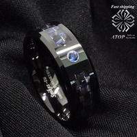 Black And Blue Carbon Fiber Tungsten Ring Blue Diamond Mens Jewelry Wedding Band Free Shipping