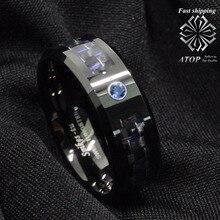 Negro y azul de Fibra de Carbono De Tungsteno Anillo de Los Hombres Azules joyería Wedding Band Envío Gratis