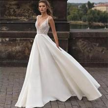 2020 plaj ucuz düğün elbisesi es V boyun dantel Applqiues Sweep tren saten ucuz Boho Bohemian düğün elbisesi Backless artı boyutu