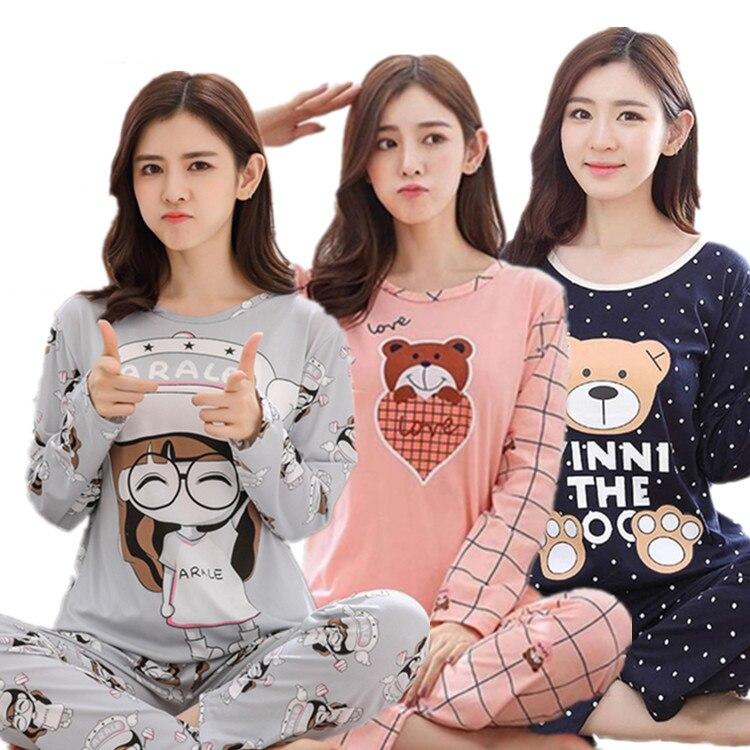 New   pajamas     set   for women long-sleeved pyjamas female cartoon home clothes large size nightwear suits christmas   pajamas   women