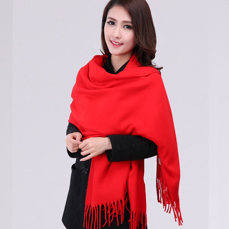New Red Fashion Thick Winter Faux Cashmere Shawl   Scarf     Scarves     wrap   Pashmina Solid Color YW1037