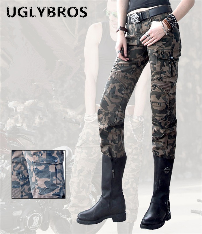 Uglybros Motorpool Ubs07 Jeans Camouflage Outdoor Ride Jeans Women's Motorcycle Pants Protective Motor Pants Size: 25 26 27 fashion casual straight uglybros incision ubs10 jeans motorcycle pants male moto pants protection for motorcycle pants