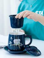 Tasse créative en céramique avec couvercle filtre tasse à thé simple bureau maison eau potable 450 ML