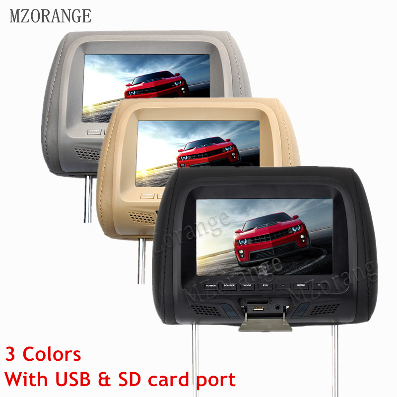MZORANGE 7 inch Car Headrest Monitor TFT LED Screen Pillow Monitor with AV USB SD MP5