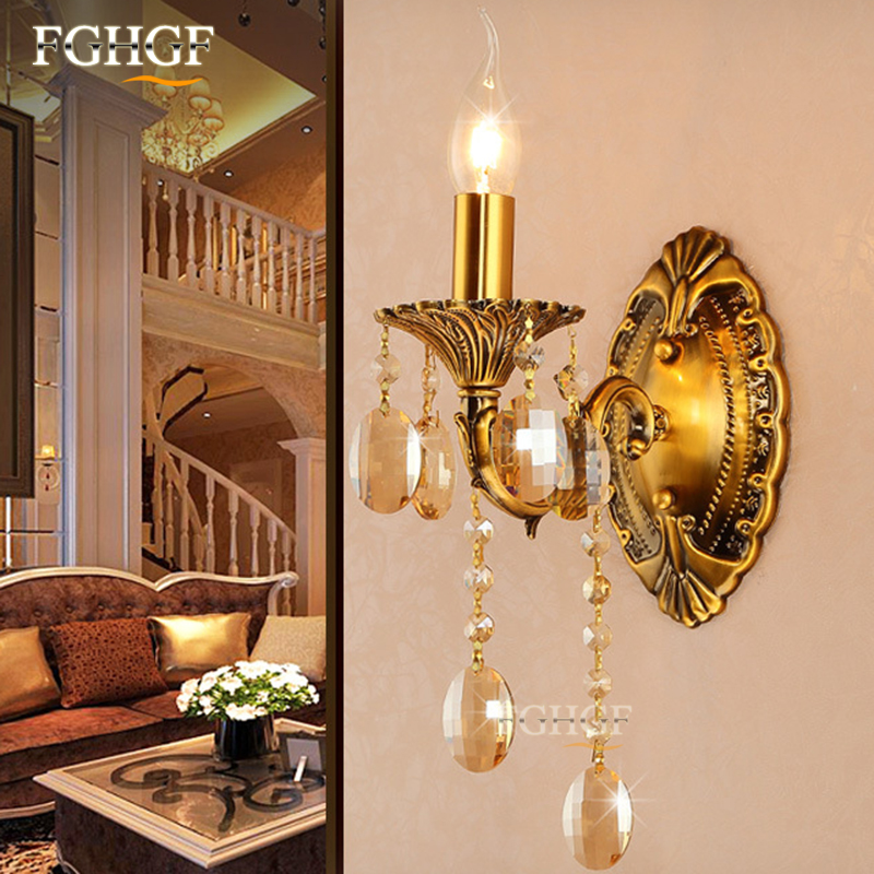 Luxury Wall Sconce Lighting European-style wall lights Bronze Color Top K9  lamp bedside lamp crystal lamp for bedroom willlustr fabric wall lamp beige cloth light europe bronze lighting fixture bedside claridge double sconce with linen shade
