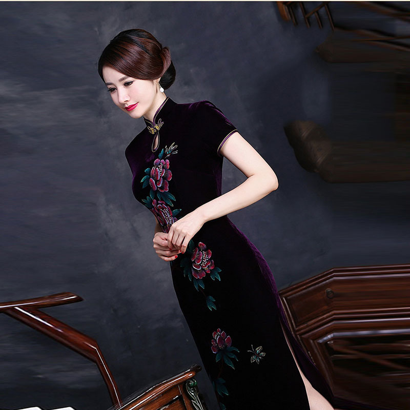 a04c52b7d Velvet Mother Purple Cheongsam Modern Chinese Dress Qipao Long Evening  Dresses Robe Chinoise Vintage Hand painted Flowers Qi Pao-in Cheongsams  from Novelty ...