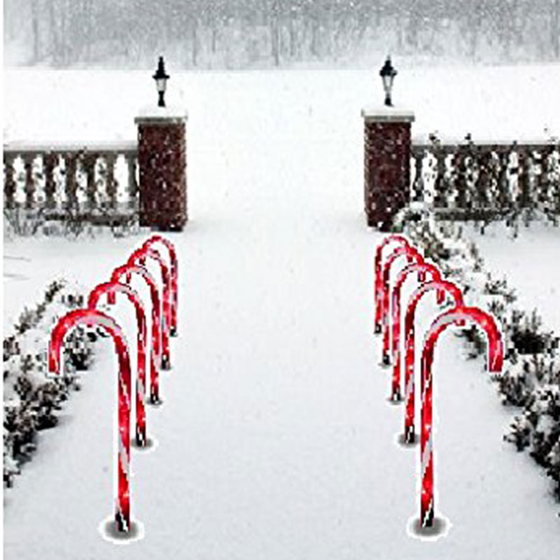 1Pc Christmas Lights Pathway Candy Cane Walkway Light Stake Lamp Outdoor Yard Decor HVR88