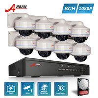 ANRAN P2P Plug And Play 1080P 8CH POE NVR HD 30 IR Vandal Proof Dome Outdoor
