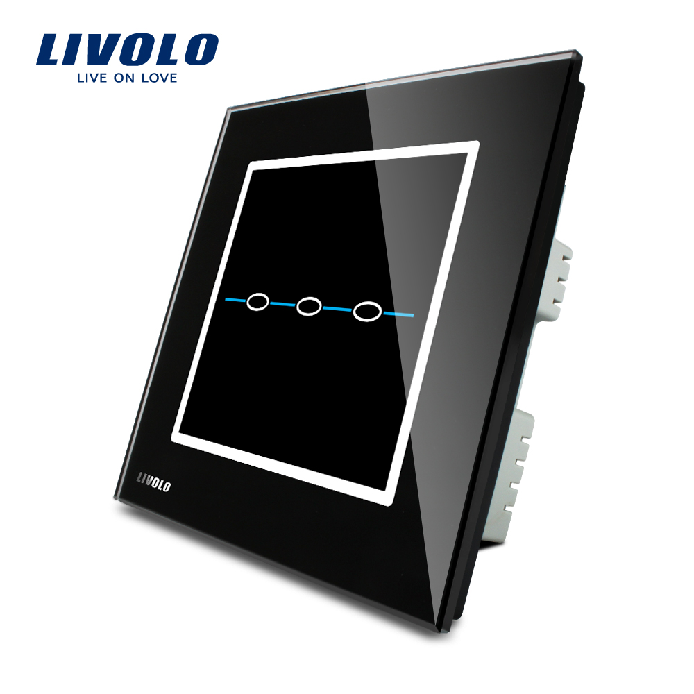 Livolo UK standard Touch Screen Home Wall Light Switch, 3gang,AC 220~250V, Black Crystal Glass Panel, VL-C303-32