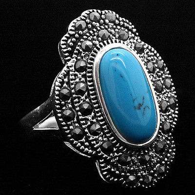 1429b0c74b12 24 16mm Vintage Style Blue Natural Turquoise 925 Sterling Silver Marcasite  Ring Size 7 8 9