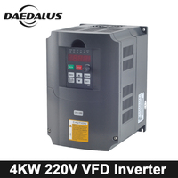 4KW 220V Spindle Inverter VFD Variable Frequency Driver 220V Frequency Converter Output Phase 3phase For CNC Engraver Machine