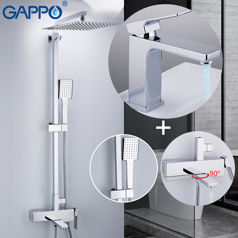 GAPPO shower system wall shower mixer brass shower faucet mixer wall mounted bathroom mixers Shower Set Sanitary Ware Suite
