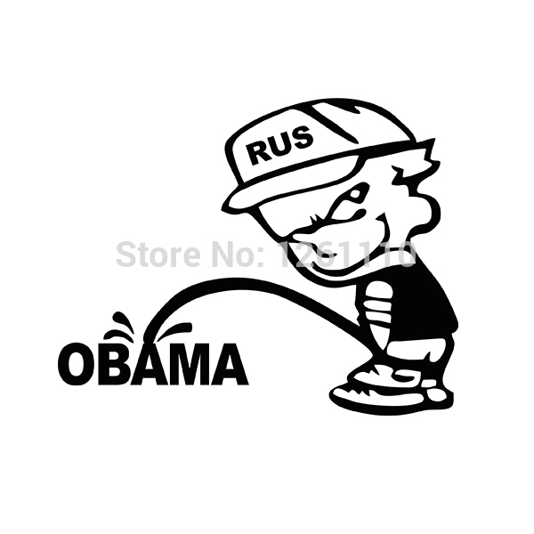 50 pcs lot funny rus bad boy calvin pee piss on anti obama jdm vinyl decal car sticker for truck suv window bumper 8 colors on aliexpress com alibaba