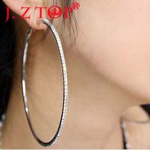 JZTOP Big Crystal Hoop Earrings Large Classic Full Rhinestone Circle Earring For Women Party Round Trendy Brinco(China)