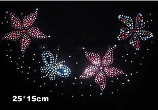 FS 2pc/lot Colorful flower and butterfly hot fix rhinestones iron on crystal transfers design transfer strass