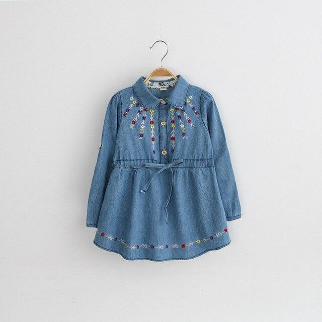 39d41b64b4f14 Enfants filles automne Denim robes pour bébé bébé enfant en bas âge fille  broderie fleurs à