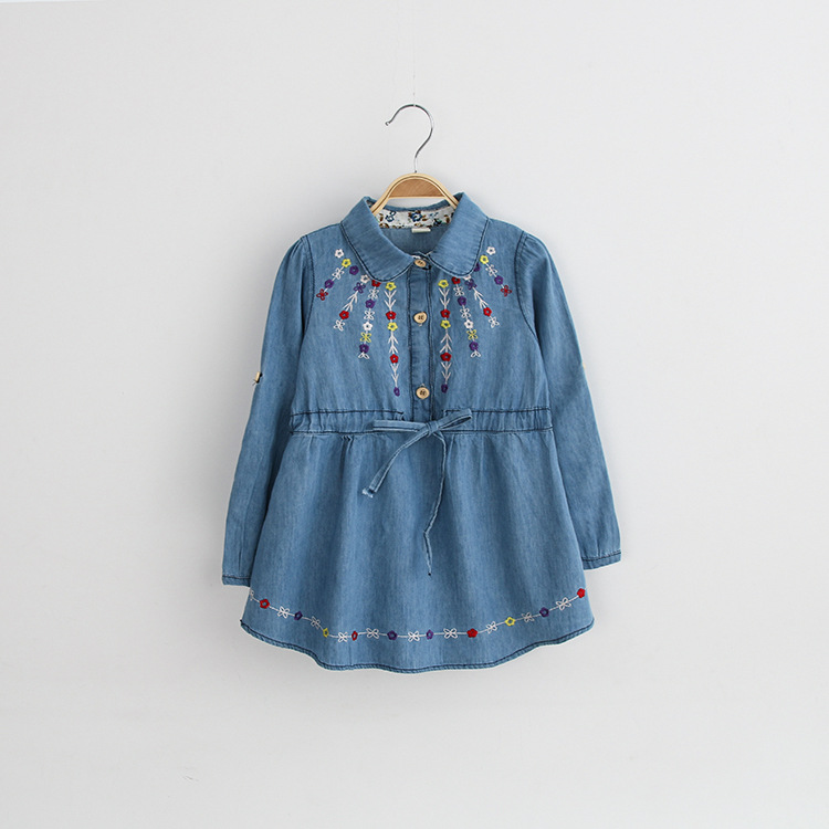 4b64a3960061 Kids Girls Autumn Denim Dresses For Infant Baby Toddler Girl Embroidery  Flowers Long Sleeve Jean Dress Cotton Costume Of Girls