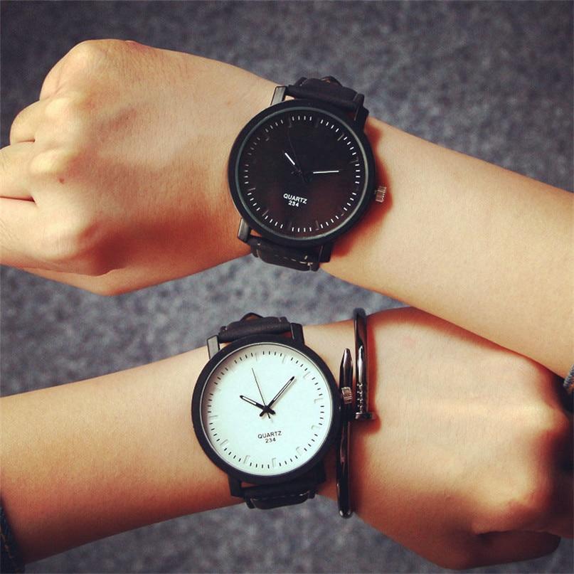 Irisshine Couple Watches Unisex NEW Watch Fashion Round Steel Case Men Or Women Leather Quartz Analog Wrist Watch Wholesale A20