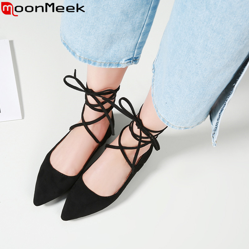 MoonMeek 2019 new shoes woman pointed toe cross tied Casual flats women flock spring autumn new shoes women Large size 34-45