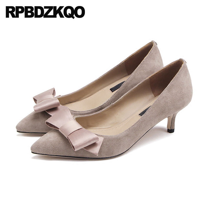 High Heels Medium Cute Pointed Toe Size 4 34 33 Ladies Genuine Leather Prom Shoes 2018 China Nude Thin Kitten Pumps Bow Suede bow size 33 cute 2018 3 inch pumps korean medium heels pointed toe 4 34 thin kawaii sweet kitten nude blue suede shoes women