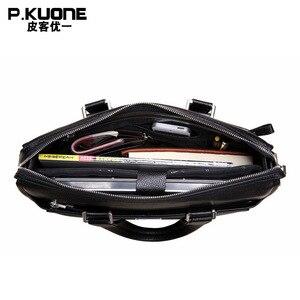 """Image 4 - Brand Design 15.6"""" Laptop Bag Natural Cowskin Mens Business Briefcase Fashion Genuine Leather Shoulder Messenger Bags"""