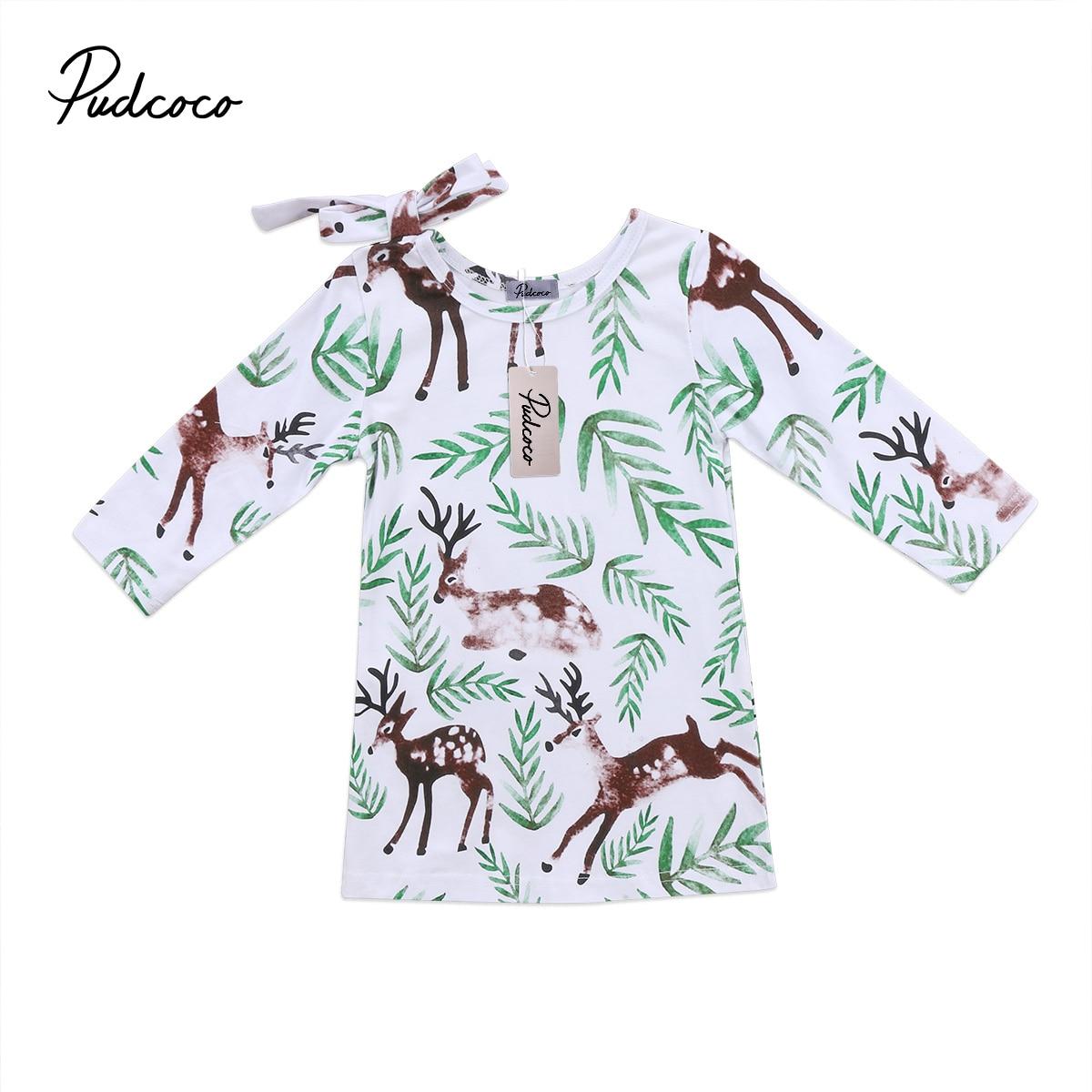 Cute Christmas Baby Kids Girls Dress Cartoon Deer Flower Dresses Toddler
