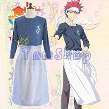 Anime Shokugeki no Soma Yukihira Souma Costume Cosplay Uniforme Vestito Tops Shirt + Grembiule Spedizione Gratuita