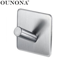 OUNONA Stainless Steel Wall Hooks Hanger Self Adhesive Towel Hook Wall Mounted Key Hanging Hook for Home Bathroom Kitchen Hook(China)