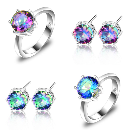 88f927a55bff Luckyshine nuevo llega elegante 65ct nupcial accesorios anillos y  pendientes de la joyería de los amantes del arco iris de cristal fija el  envío libre