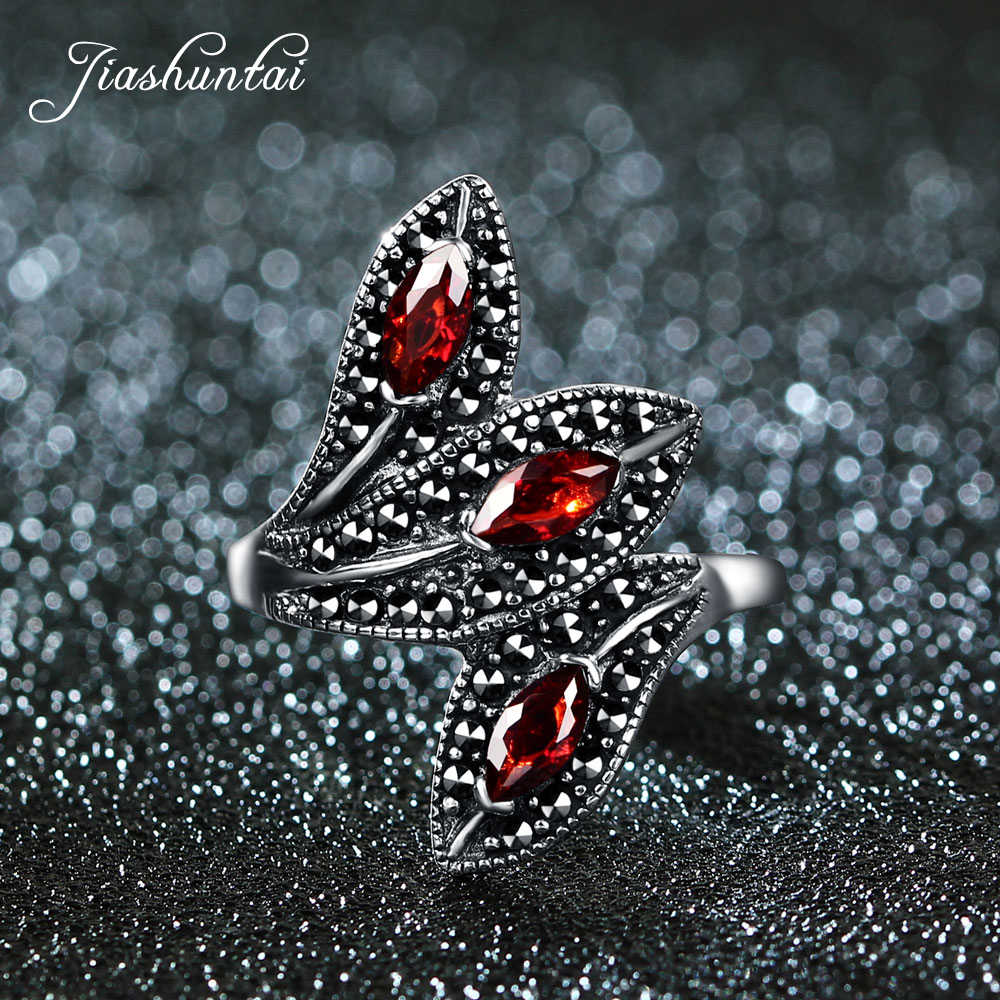 JIASHUNTAI 100% 925 Sterling Silver Rings For Women Retro Natural Precious Stones Vintage Thai Silver Rings Jewelry Leaves